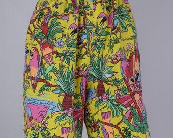 Cartoon Parrots Vintage Shorts