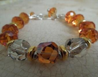 Golden Sunrise Swarovski Crystal and Silver Bracelet