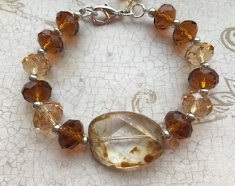 Adrianna Bracelet of Czech and faceted crystal beads