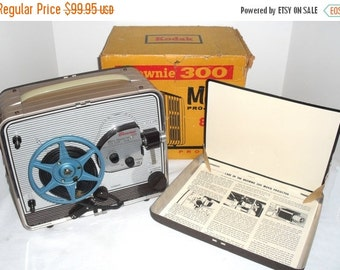 ON SALE Vintage 1950s Kodak Brownie Model 1 300 8mm Film Silent Movie Projector & Reel with instructions, preview screen in the box and Serv