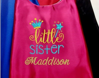 Super Hero Cape,  Embroidered Big Sister, Middle Sister, Little Sister Capes  Personalized with Name and Initial Hot Pink