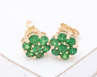 Tsavorite Green Garnet Cluster Earrings 14K Yellow, White or Pink/ Rose Gold (2ct tw) : sku 1535-14K ( Watch Video)