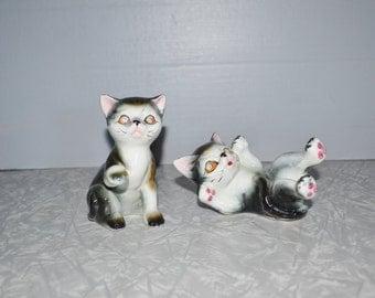 Vintage Rhinestone Eye Cat Figurines ~ Japan Cat ~ Tabby Cat ~ Epsteam