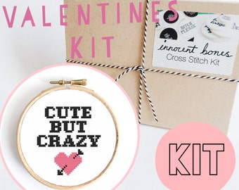 Cute But Crazy Modern Cross Stitch Kit - easy chart design guide & supplies- valentines design - embroidery kit bad taste popculture