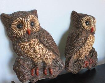 One pair cute vintage OWLS - 70's Retro Foam Wall Art, 3D foam owl wall art, Vintage 1970s owl wall hangings