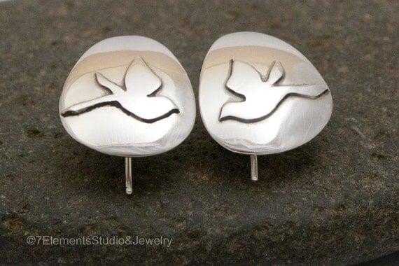 Songbirds Argentium Silver Earrings, Songbirds in Flight, Super Light Earrings