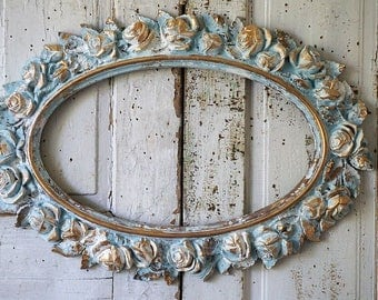 Rose picture frame wall hanging large distressed oval painted blue white w/ gold shabby cottage chic ornate home decor anita spero design