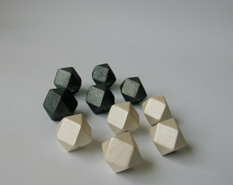 Hexagon Wood Beads, Platinum white and Reflect black Hand Painted wood Beads, DIY necklace