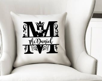 Monogram Wedding Pillow - Throw Pillow Cover - Decorative Pillow Case - Mom Cushion Cover - Gift for Her - Family Name Pillow - Custom Gift