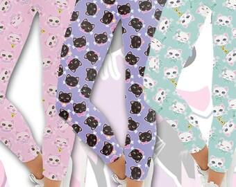 Kawaii Cat Heads Leggings Fairy Kei Cat Leggings Kitten Kitty Pattern Multicolor Size XS Through 5XL *MADE 2 ORDER, Month*