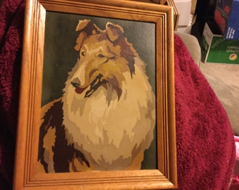 Vintage Lassie/collie paint by number pretty oak frame
