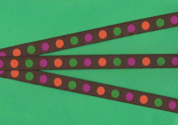 "3-8 Yds Brown Pink or Blue Polka Dot Polkadot Woven Jacquard Ribbon 7//8/""W"