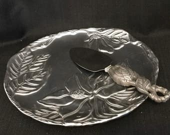 Pewter Arthur Court  Server Cheese Plate with Knife