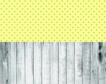 Retro Yellow Polka and Grey Worn Wood - Vinyl Photography  Backdrop Photo Prop