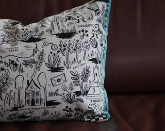 Organic Lumbar Pillow in black & white garden || Felt detailing hand stitched || canvas fabric || down alternative