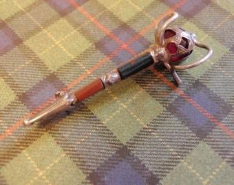 SCOTTISH Antique Silver Celtic Dirk Sword KILT Pin Agate Pebble Brooch Sterling