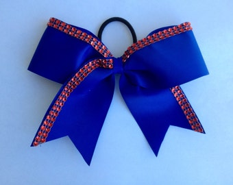Royal with red rhinestone Cheer Bow