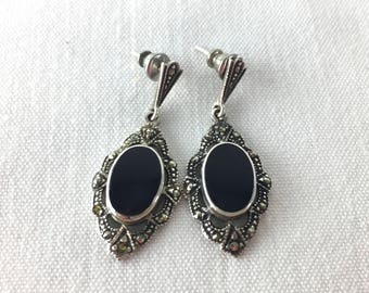 Vintage Sterling Silver 925 Marcasite and Onyx Teardrop Pierced Earring - Formal Fine Estate Jewelry - Bridal - Gift for Her - Art Nouveau