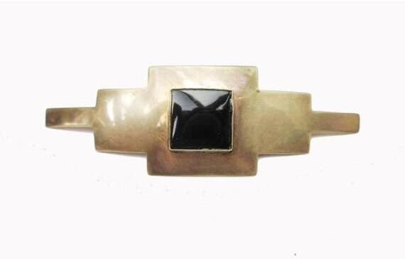 Bar Brooch Brass - Black Onyx - Victoirian Revival pin