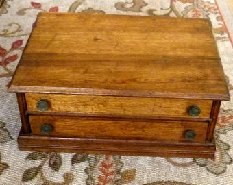 Antique 2 Drawer Spool Chest - Sewing Cabinet - Victorian Thread Cabinet