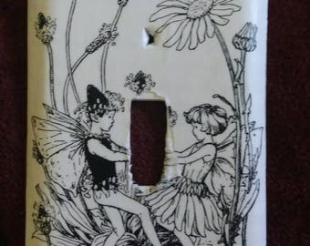 Dancing fairies light switch plate