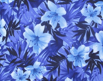 "Lycra Fabric Polyester Spandex Material - Purple, Periwinkle, Navy blue floral, 18"" long X 58 inches wide- NEW perfect for swimwear, leotard"