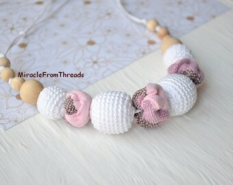 Wrap Scrap necklace,White pink Teething necklace, Nursing necklace,  Babywearing necklace, Gift for baby mom, Breastfeeding necklace,Safe ec