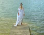 Boho Beach Kimono Cover Up Midi, Maxi, Tall, Cover Up Hygge Cruise Caftan Dress White Womens Spa One Size Cotton Resort