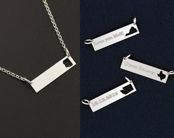 Arizona Bar Necklace state necklace personalize necklace Italian rolo chain custom name engraving Bar Best Gift ALL STATES ARE available