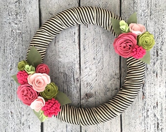 """Spring Wreath, Felt Wreath with Rose and Pink Flowers, Summer Wreath, Felt Flowers, Pink Cabbage Rose, Black and White Striped Ribbon, 14"""""""