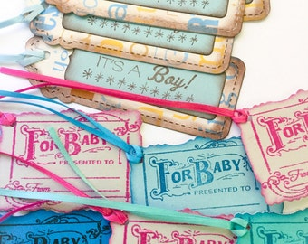 Hand made gift tags: For Baby - to - from - baby shower - It's a Boy tags - gift tags for baby - girl and boy tags - pink tags - blue tags