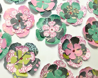 30 Handmade Flowers: flower Embellishments - Layered flowers - 3D Flower - colorful flowers - pink -  scrapbooking - cards