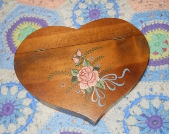Valentines Hinged Wood Heart Box Tole Painted Roses Ribbon Romantic Wedding Anniversary Love Lined Jewelry Box