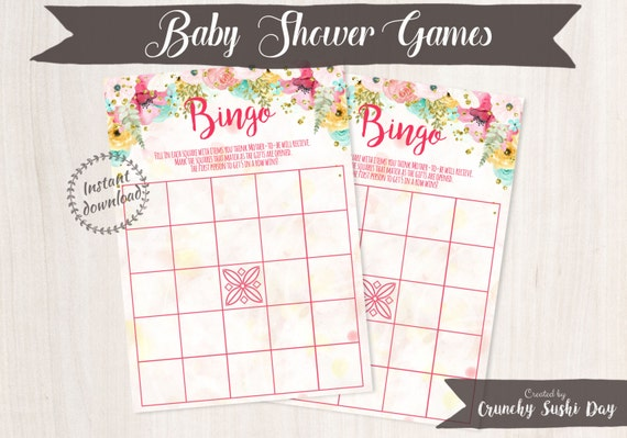 Printable Baby Shower Games, Bingo, Fun, Easy, Floral, Baby Shower, Party Printables, Baby Shower Decorations, Teal, Pink 001