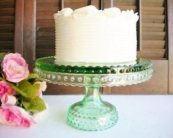 Green Glass Cake Stand/Vintage Wedding Cake Stand/ LE Smith Cake Stand/Cupcake Stand//Collectable/Gift