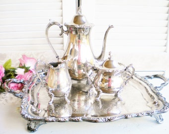 Silverplate Vintage Tea Set And Footed Tray With Handles /Vintage Coffee Server/Wedding Tea Set /Showers/Tea Party Gift/5 Piece