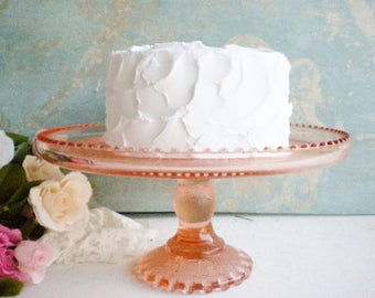 Blush Pink Cake Stand 10 Inch/Vintage Pink Wedding Cake Stand /Jeannette Glass/Retro Cake Plate/For Wedding/Tea Party/Showers