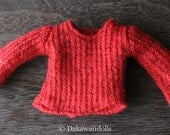 PRE-ORDER / Blythe Doll Outfit /  1/6 doll size /   will knit / sweater cardigan/  #2 red