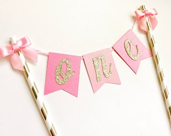First Birthday Cake Topper, One Cake Topper, Pink & Gold Cake Topper, Smash Cake Topper, First Birthday Decorations