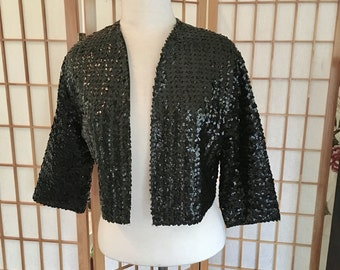 Vintage 60s Black Sequin Cropped Bolero Jacket with Quarter Sleeves