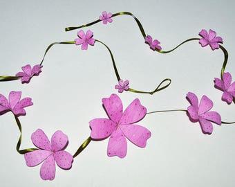 Bright Pink Floral Garland, 1 metre length