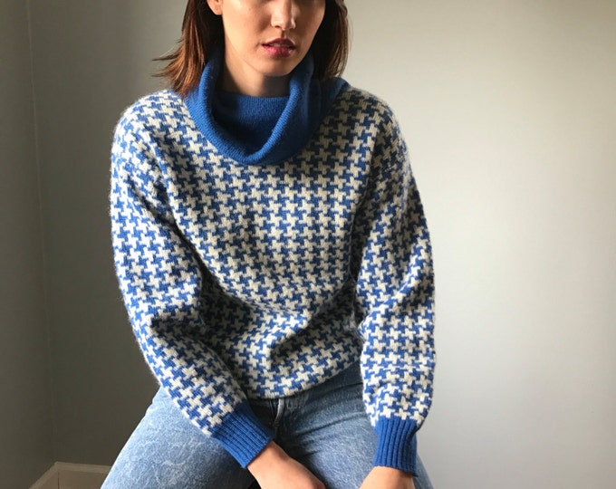 Vintage 50s Cowl Neck Sweater Houndstooth