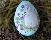 Collectable Easter egg hand painted Bunny sitting in lavender tulips, Robbin egg blue original art work signed Easter decor RESERVED