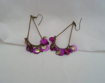 Purple and brass earrings