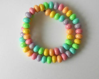 Vintage beaded Necklace Pastel Multicolored Easter egg Spring candy colored