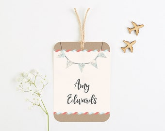 Travel Collection - Map Bunting Luggage Tag Place Card