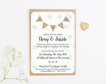 Burlap Bunting with Polka Dots Gem and Pearl Evening Invite