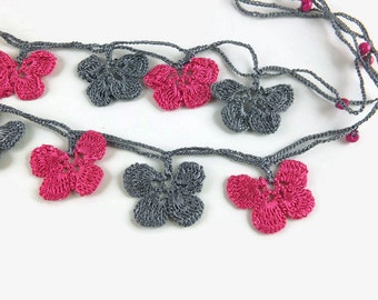 Eye Glasses Chain, Fuchsia and Gray Oya  Flower Crochet Beaded Eye Glass Necklace, Turkish Oya Crochet, Gift for Grandma
