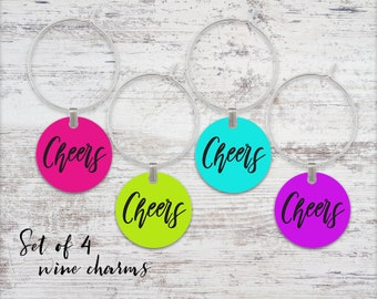 Cheers Wine Glass Charms Set of 4 Wine Charms Metal Charms