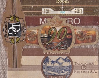 2016 Cigar Band Collage Coaster: Aging Room - 90 Miles